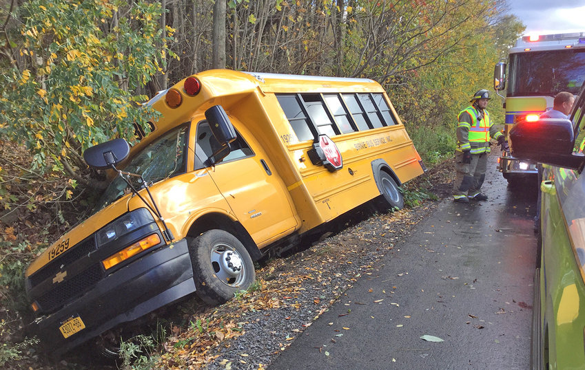 BUS ACCIDENT — This Birnie school bus slipped sideways into a ditch on Camroden Road in the Town of Floyd shortly before 3 p.m. on Monday. State police, Floyd Fire Department and AmCare Ambulance responded. No information was released from the troopers on whether or not anyone on board was injured.