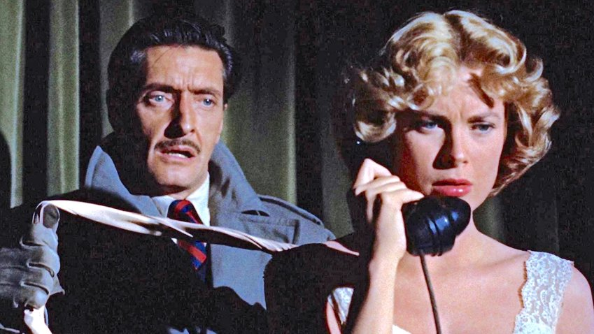 """Alfred Hitchcock Buried But Alive! — Anthony Dawson and Grace Kelly in a scene from """"Dial M for Murder."""""""