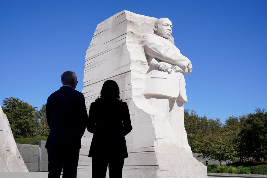 KING MEMORIAL — President Joe Biden and Vice President Kamala Harris stand together at the Martin Luther King Jr. Memorial as they arrive to attend an event marking the 10th anniversary of the dedication of the memorial in Washington Thursday. (AP Photo)