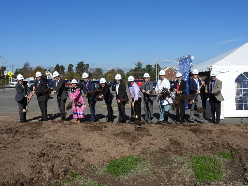 BREAKING GROUND — Local officials, members of the Oneida Indian Nation, Upstate Medical University, and their supporters break ground at the site of the new Upstate Cancer Center in Verona, which is expected to open its doors in 2023.