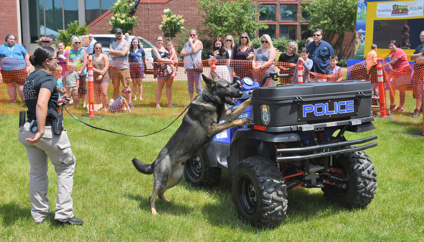 K9 UNIT DISBANDING —The Rome Police Department will be retiring their two K9s at the end of the year because the legalization of marijuana makes the drug-sniffing dogs a potential liability, according to Police Chief Kevin C. Beach. The dogs, including Arko, pictured here at a past Law Enforcement Day event, will likely go home with their handlers. Arko is partnered with Patrolman Alexzandra S. Carletta.