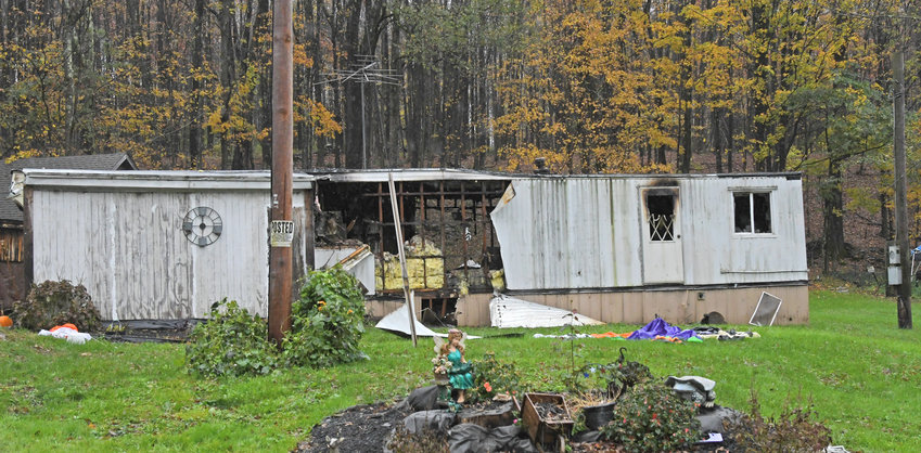 MOBILE HOME DESTROYED —This mobile home at 9584 Boyd Road in the Town of Annsville was destroyed by a late night fire on Monday. A family of four has been displaced.