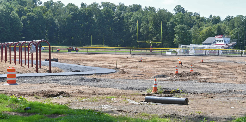 FIRST AND GOAL? — Cones mark various points of attention in the construction of an athletic field at Walbran Elementary School in Oriskany last week. The field is part of a multimillion dollar capital project at the district.  (Clinton Record photo by John Clifford)