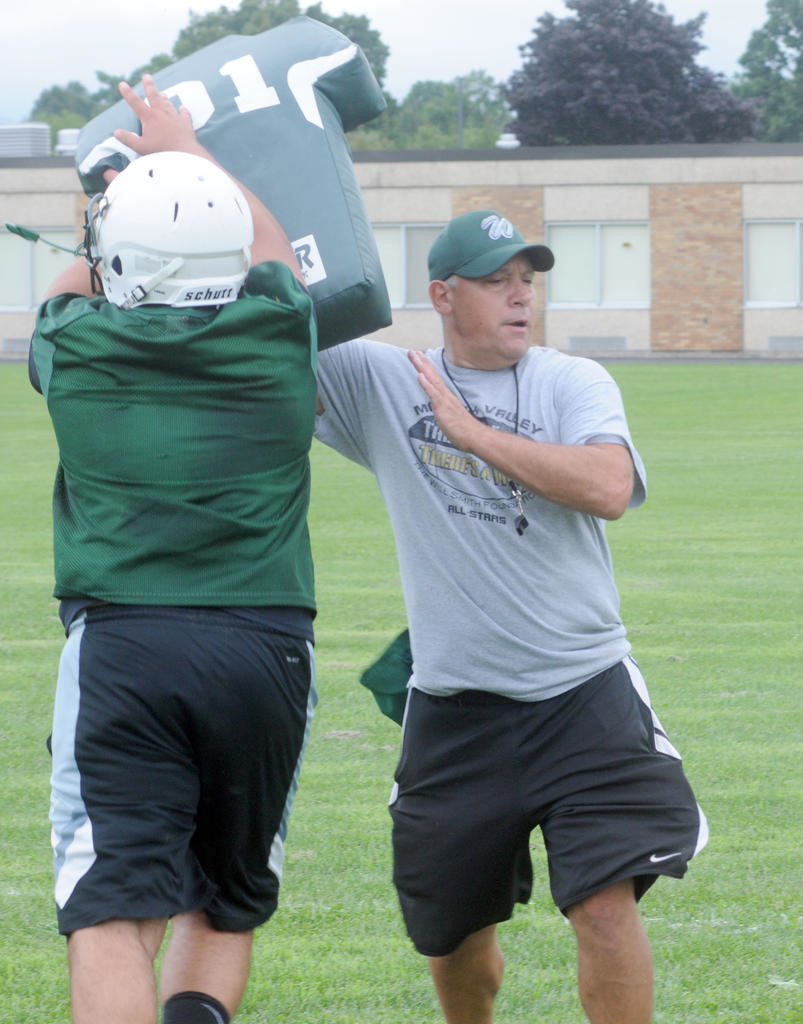 MAKING THE BLOCK — Westmoreland lineman Andrew Scalise makes a block on a dummy that assistant coach Jerry Fiorini is holding during a recent practice at Westmoreland Elementary School.  (Clinton Record photo by Kenny Kudrewicz)
