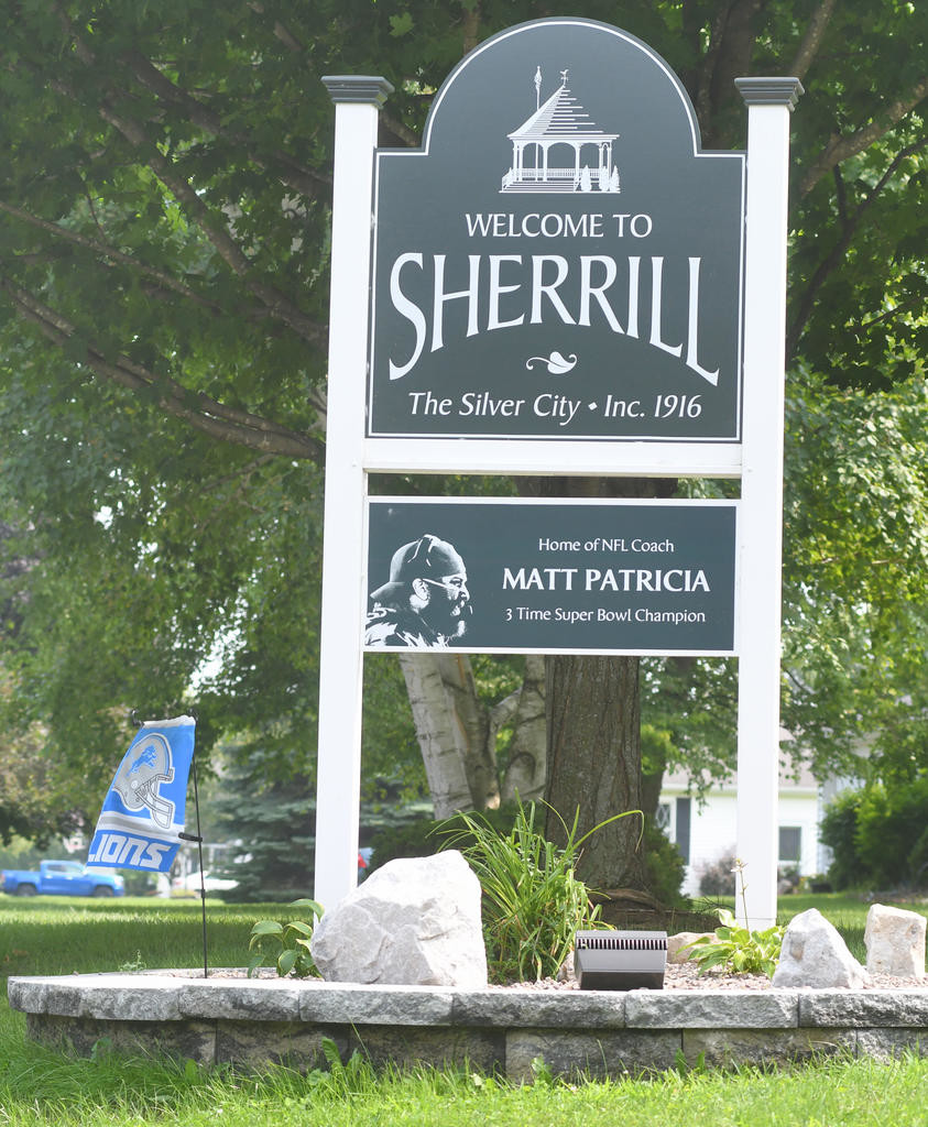 8f8b713e37b NATIVE SON — A Welcome to Sherrill sign now recognizes Matt Patricia with a  sign underneath