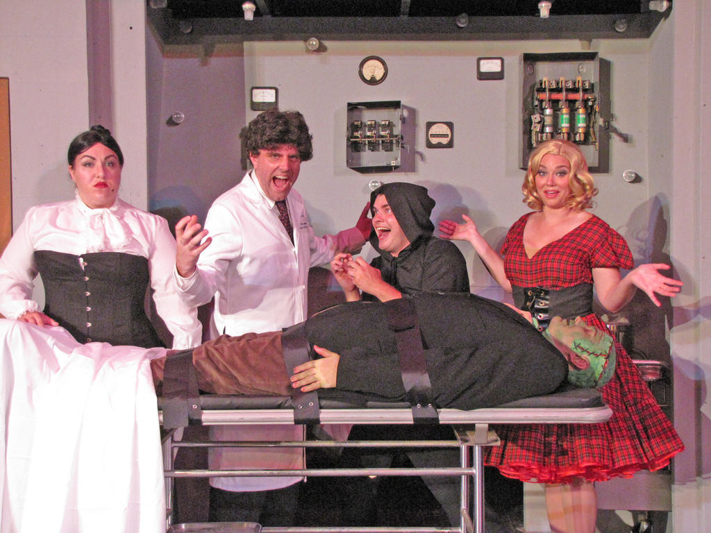 "SUMMERSTAGE — The cast of ""Young Frankenstein,"" from left: Liska Savage (Frau Blücher), Michael J. Youngs (Dr. Frederick Frankenstein), Taylor Mills (Igor), Jessica Lotyczewski (Inga) and Will Lanfear (The Monster).  (Photo submitted)"