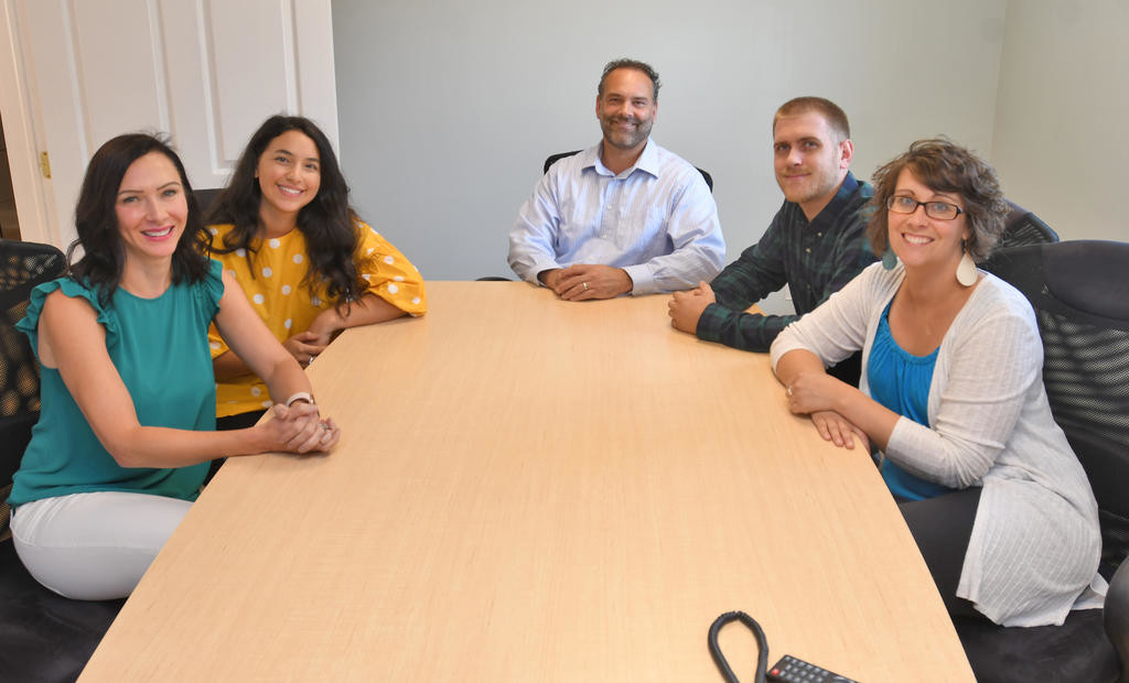 FAB FIVE — Brockett Creative Group left to right- Catrina Dibble, Juliana Santucci, Matthew Brockett, PJ Lang and Andrea Crissey.  (Sentinel photo by John Clifford)