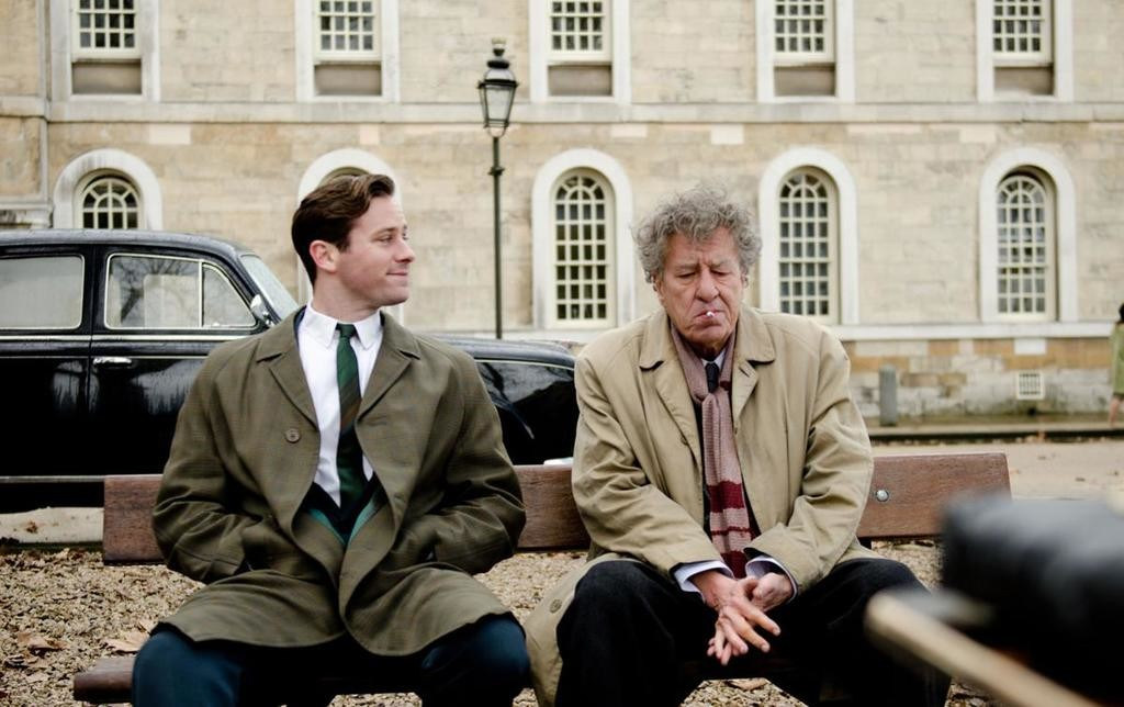 "offbeat friendship — Armie Hammer and Geoffrey Rush in a scene from ""Final Portrait""  (Photo submitted)"