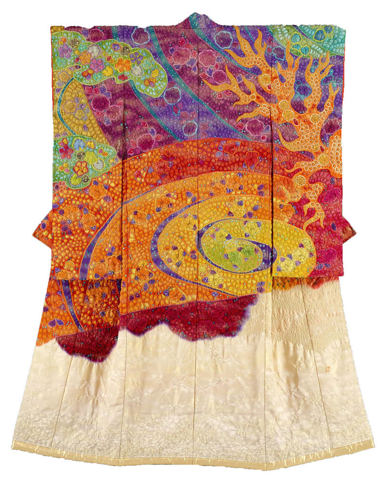 "ART BY Itchiku Kubota — ""Kimono! The Artistry of Itchiku Kubota"" features 48 handcrafted pictorial kimono. These were made through tie-dyeing, ink painting, and embroidery on silk crepe (chirimen)."