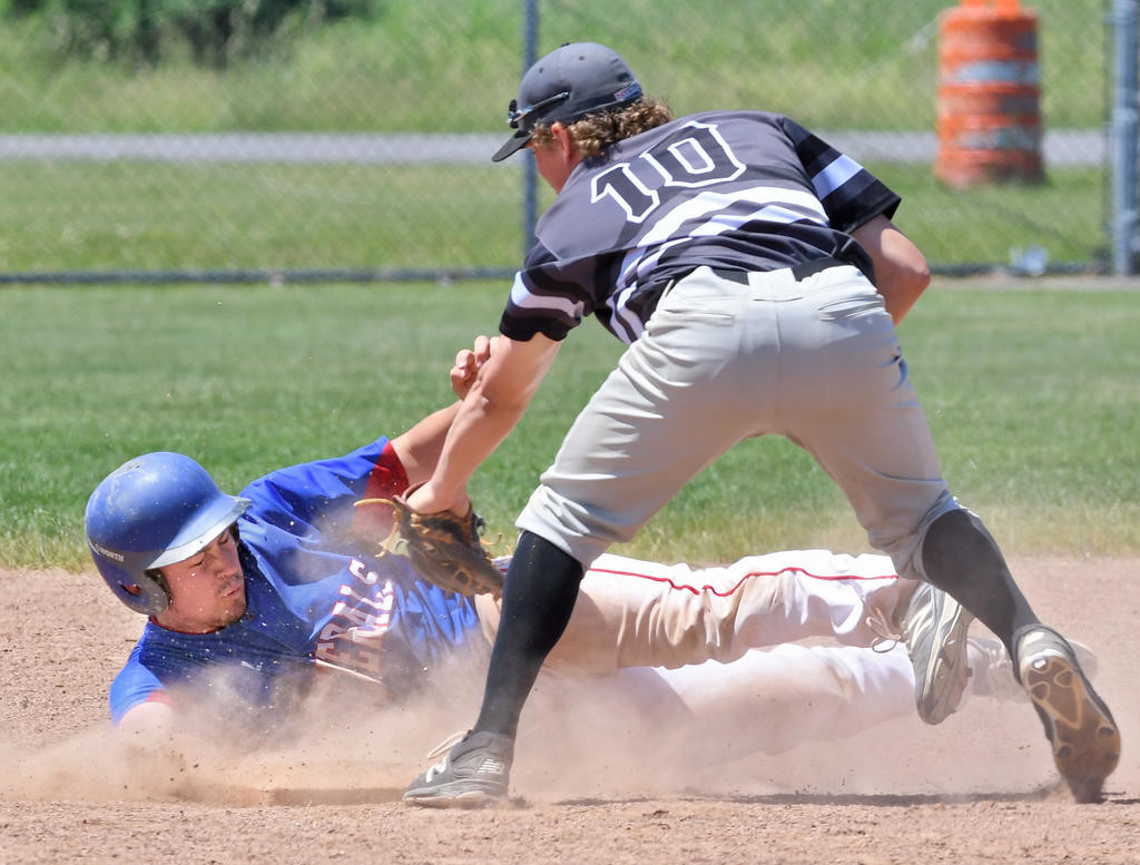 SAFE — Rome Generals base runner Sean Tyler, left, steals second base under the glove of Sherrill's Nate Cormier during the second inning of Tuesday morning's NYCBL game at DeLutis Field. Sherrill went on to win 11-3.  (Sentinel photo by John Clifford)
