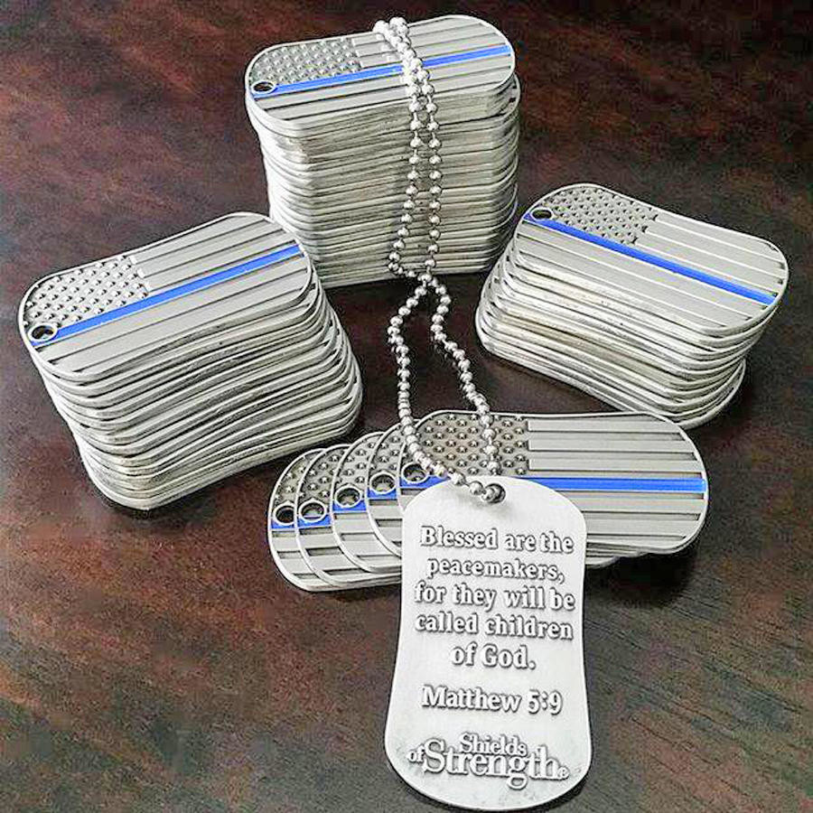 SHIELDS OF STRENGTH — Point 27, an Atlanta-based global nonprofit, has sent Thin Blue Line scripture-inscribed dog tags called Shields of Strength to the Whitesboro Police department to honor fallen Patrolman Kevin Crossley, killed in the line of duty in an auto crash  April 11.  (Photo submitted)