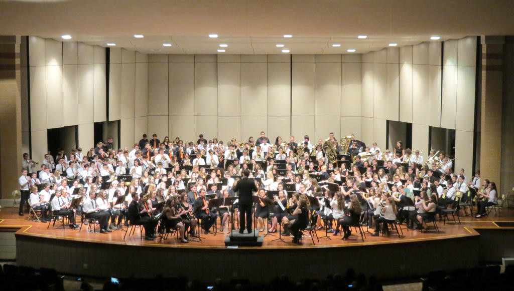 ALL TOGETHER NOW — Members of the various bands from throughout the Rome City School Districts gather to perform together in this file photo from the 2016 All City Band concert. Students from all levels will perform tonight at Rome Free Academy, starting at 7 p.m.  (Sentinel file photo)