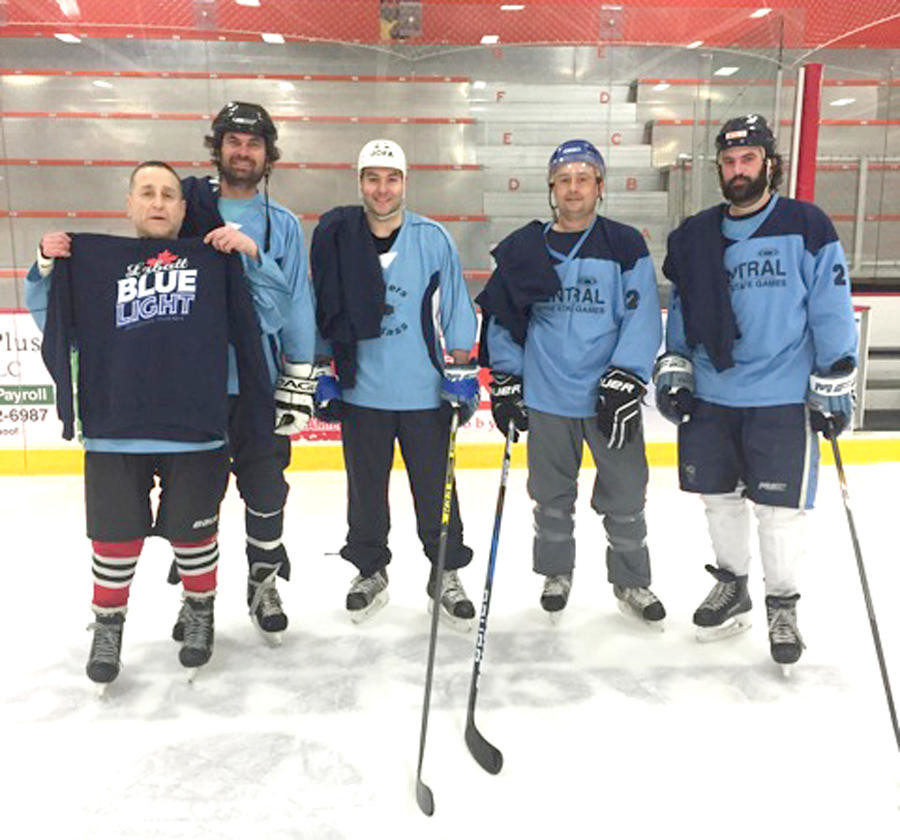 "HOCKEY CHAMPS — The 2018 Labatt Copper City Classic 3 vs. 3 Adult Hockey Tournament was held on March 10 at Kennedy Arena. ""Go Team"" won the nine-team, open division. On the winning team, from left, were Frank Tardugno, John Cawl, Kyle Roberts, Kyle Bostic and Vinny Nucci. All games were a half-ice format, with pond hockey goals.  (Photo submitted)"