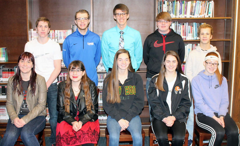 CAMDEN'S TOP TEN — Seated, from left, are Yvette O'Kay, Morgan Davis, Haidyn Hawkes, LeRyiah Buckingham, Reagan Ingalls. Standing from left, are Riley Gerber, Timothy Cook, Alexander Williams, David Congden and Hunter Williams.