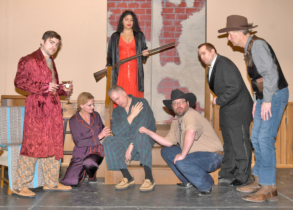"A MATTER OF LIFE AD DEATH — The Rome Community Theater will present ""Whodunnit, Darling?"" Thursday-Saturday at 7:30 p.m. and Sunday at 2:30 p.m. From left, Josh Beckinsale as Tommy Delbert, Kim Durling as Daffney Cole, Dave Bunker as Martin Lomax, Sophia Mostafa as Vera Lomax, Erik Kenney as Moose Lodge, Tim Huey as Damocles Cole, Ken Blumbert as Tex McKinney.  (Sentinel photo by John Clifford)"