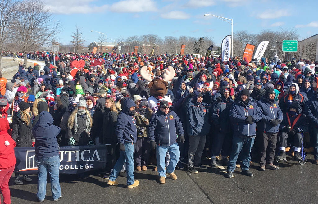 READY TO BEGIN — Runners line the start line for the America's Greatest Heart Run and Walk on March 4, 2017 at Utica College. The annual event raised $1,068,372 last year to help support efforts to combat heart disease.  (Photo submitted)