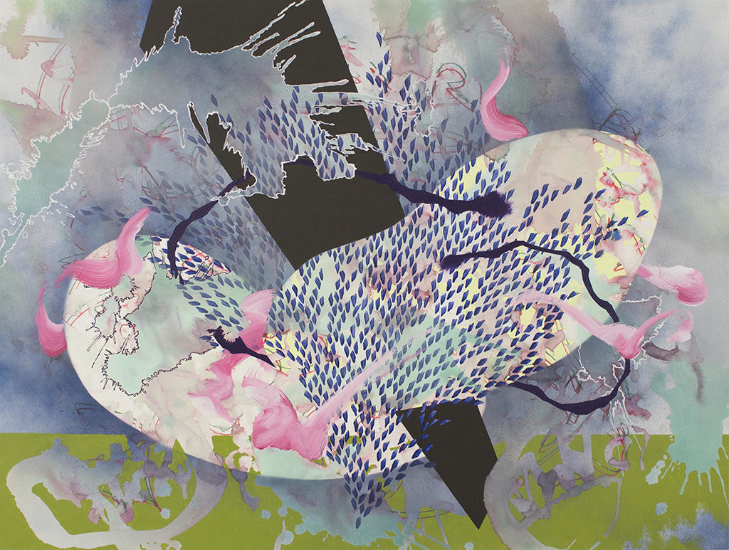 """Voyage II"" — Artwork by Nishiki Sugawara-Beda; acrylic and watercolor on paper mounted on wood, 2014  (Image submitted)"