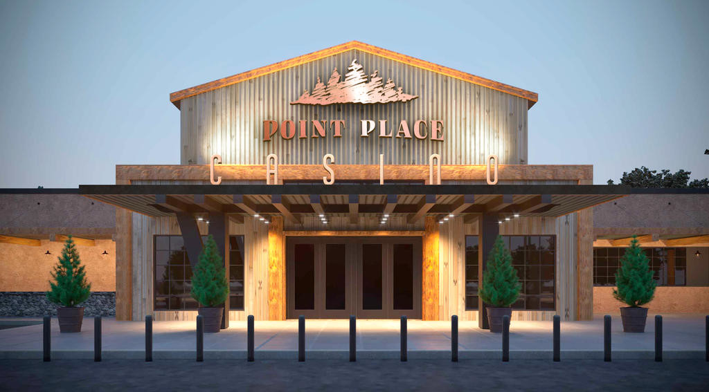 ON POINT — This computer rendering shows the entrance for the Point Place Casino on Route 31 in Bridgeport. The casino will be 65,000 square feet and will be the Oneida Indian Nation's second gambling venue in Madison County along with the Yellow Brick Road Casino in Chittenango. It is scheduled to open March 1.  (Illustration submitted)