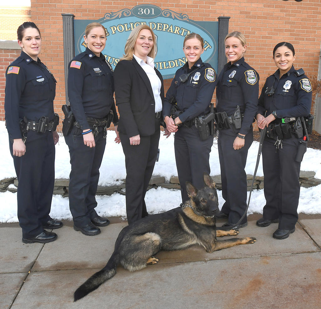 ROLL CALL — The six female officers currently in the Rome Police Department are the most at one time in the city's history. From left: Officer Kelly L. Lupinski; Officer Hollie B. Kennedy; Sgt. Sharon L. Rood; Officer Stacie R. Skidmore; Officer Alexis Perry; and Officer Alexzandra S.M. Carletta. They are joined by Carletta's K9 partner, Arko, a boy.  (Sentinel photo by John Clifford)