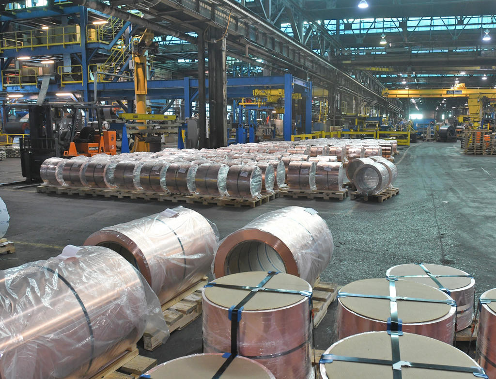 START OF THE PROCESS — Rolls of material that will be worked are shown here at Revere Copper Products.  (Sentinel photo by John Clifford)