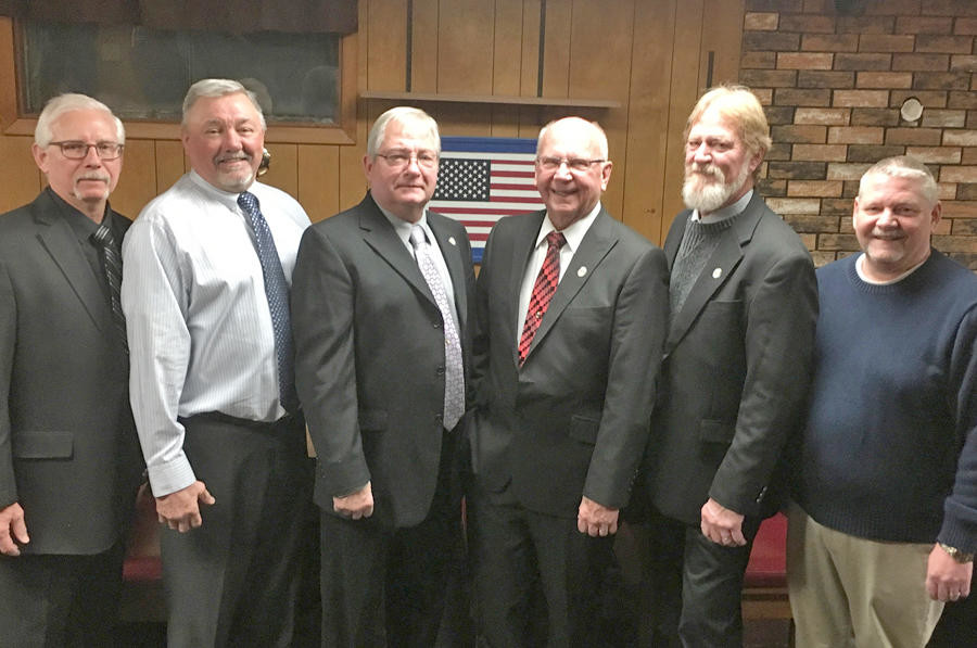 OFFICERS AT THE HELM — The American-Ukrainian Veterans and Mens Club installed officers at a ceremony Saturday. From left: Joe Luczynski, treasurer; Ed Koziarz, chaplain; Hank Koziarz, president; Frank Lawruk, vice president; Don Murphy, bar steward; and Jim Pekarski, secretary.  (Photos submitted)