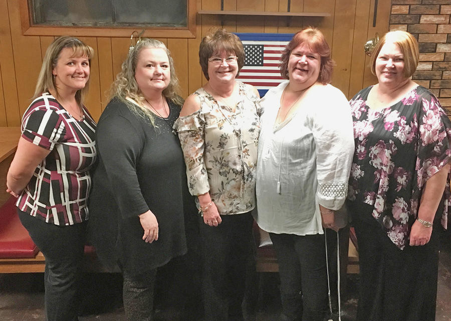 AMERICAN-UKRAINIAN WOMEN'S AUXILIARY INSTALLS — The American-Ukrainian Veterans and Mens Club Women's Auxiliary installed officers during a ceremony Saturday. From left: Jennifer Knight, treasurer; Lisa Frye, sergeant at arms; Cherryl LaBouef, president; Tina Lowery, vice-president; and Judy Sadlowski, secretary. The event at the club's 208 Canal St. site was catered by Delta Lake Inn.  (Photo submitted)
