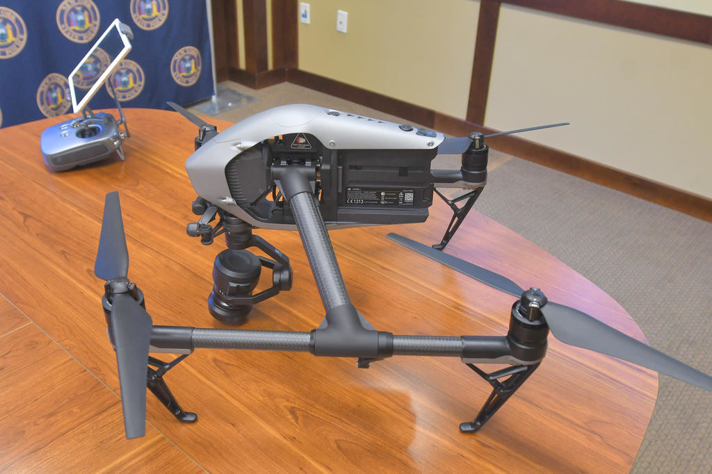 SLEEK AND STYLISH — This new unmanned aerial drone costs about $7,000 for the state police. Troopers hope to have 14 drones across the state by the Ppring.  (Sentinel photo by John Clifford)