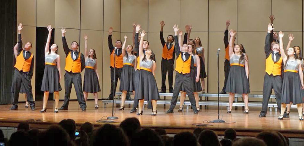 WAVE OF MUSIC — Members of Rome Free Academy's Rhapsody Show Choir will host a Collegiate A Cappella Invitational Saturday at 7 p.m. in the RFA auditorium. It will include six college groups. Also appearing will be RFA's a cappella group, Fermata Nowhere.  (Photos submitted)