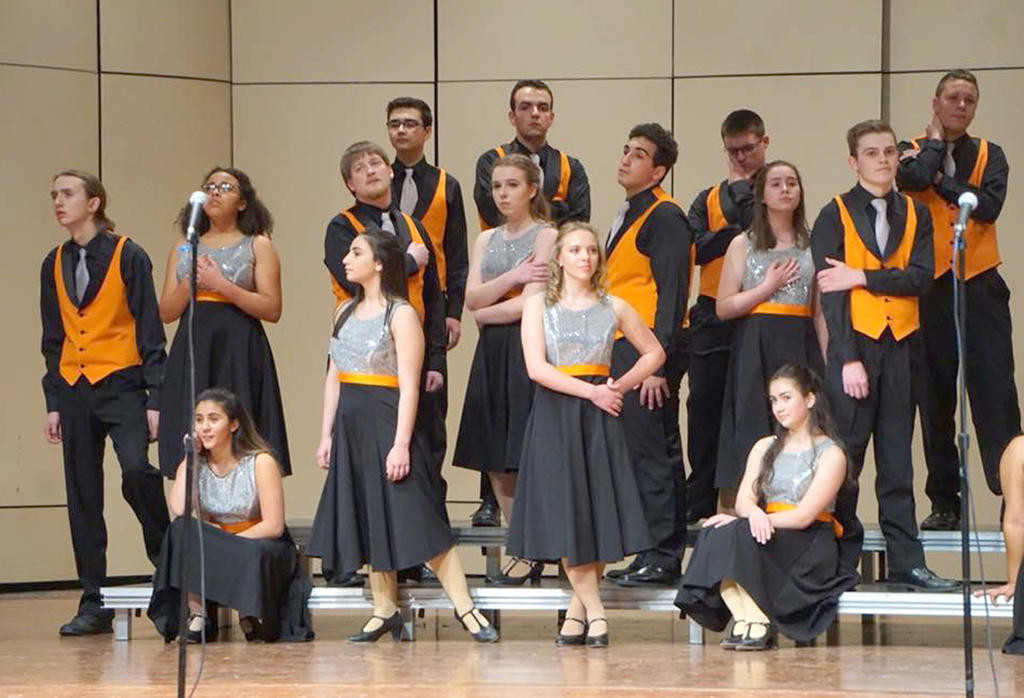 READY TO SING — Rome Free Academy's Rhapsody Show Choir will host a Collegiate A Cappella Invitational on Saturday at 7 p.m. in the RFA auditorium. Tickets are $8 at the door, or $7 in advance.  (Photos submitted)
