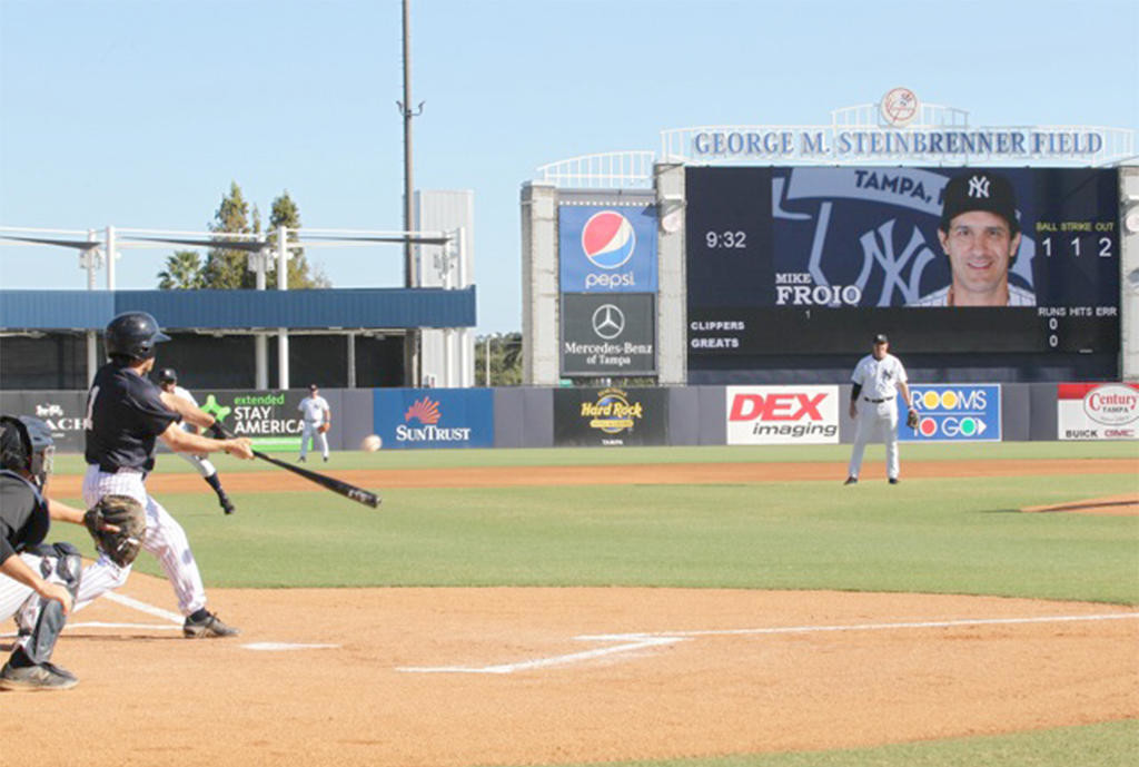 MAKING CONTACT — Rome native Mike Froio makes contact during a game on George M. Steinbrenner Field at Yankees Fantasy Camp in November.  (Photos submitted)
