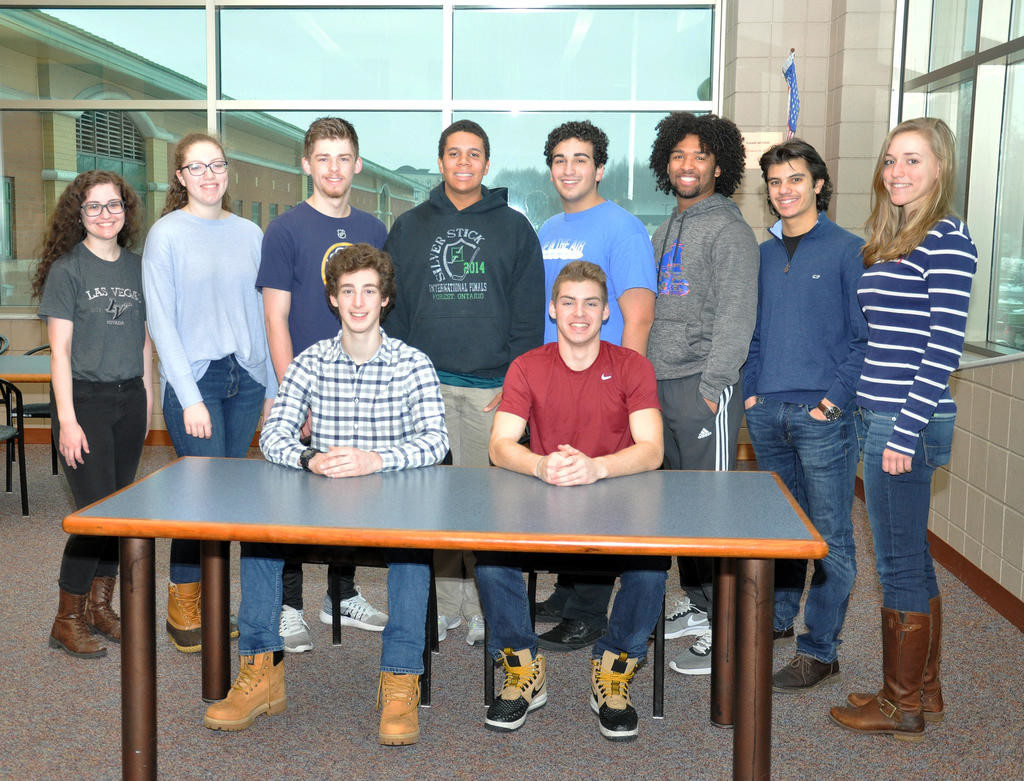 RFA ACADEMIC EXCELLENCE SCHOLARSHIPS — Among Rome Free Academy seniors who were awarded New York State Scholarships for Academic Excellence are, in back from left: Isabella Madeira, Mary Kennedy, Thomas Yoxall, Xavier Freeman, Jeremy Amoroso, Cameron Kilpatrick, Massimo Mattacola and Marian Draper. Seated in front, from left: Ryan Pohorenec and Tristan Hunzinger.  (Photo submitted)
