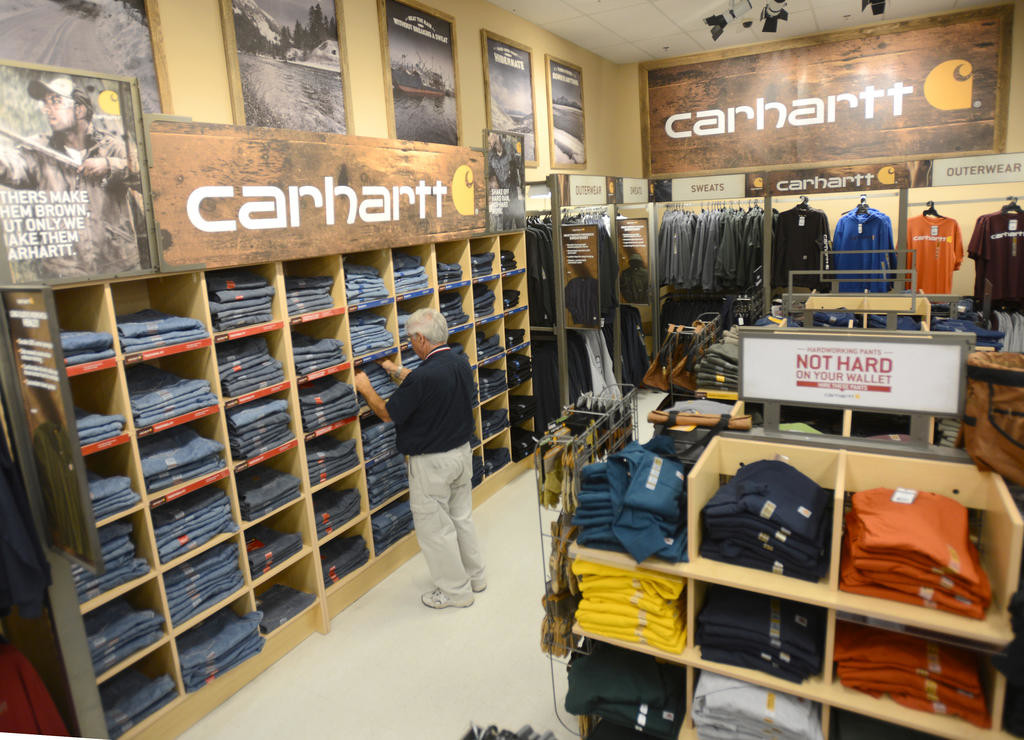 OUTDOOR OUTFITTER — A large Carhartt selection is featured at the Rome location of Herb Philipson's in this 2015 file photo.  Citing competition from online vendors, as well as declining cold weather sales, company officials today announced the retail chain is up for sale.  (Sentinel photo by John Clifford)