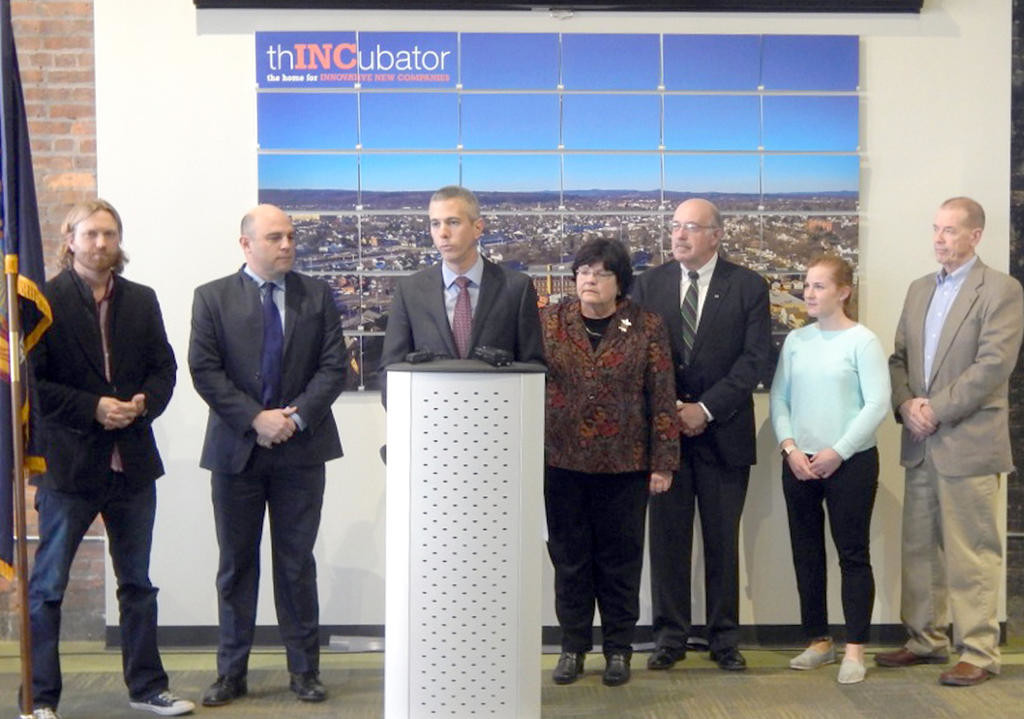 BRING IT BACK — State Assemblyman Anthony J. Brindisi, D-119, Utica, joined local business leaders Thursday to support net neutrality on the Internet. This legislation would require Internet service providers to adhere to net neutrality standards to receive state contracts. Brindisi said the law, if passed, would help business development and education in New York State.  (Photo submitted)