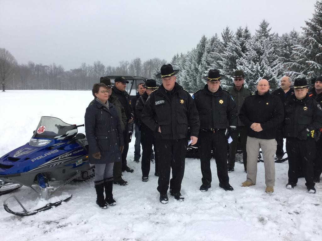 SHERIFF'S WARNING — Oneida County Sheriff Robert M. Maciol was in Deerfield this morning to kick off snowmobile season with rules and advice for snowmobilers. He was joined by representatives from other local law enforcement agencies and snowmobile clubs, as well as Oneida County Tourism.  (Sentinel photo by Sean I. Mills)
