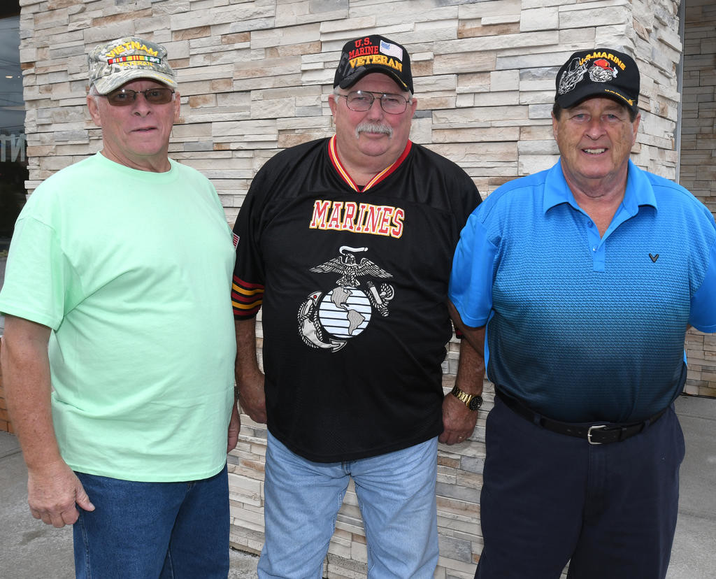 "VET REUNION — Three Vietnam War veterans, natives of Rome, were recently reunited after not seeing each other for nearly 50 years.  From left: Gary Neidl, Roger ""Ace"" Arceaux and Earl Harris.  (Sentinel photo by John Clifford)"