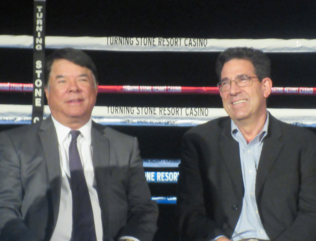 1-2 COMBINATION — Oneida Indian Nation Spokesman and Nation Enterprises CEO Ray Halbritter, left, shares a light moment with International Boxing Hall of Fame Executive Director Ed Brophy before a press conference announcing a five-year deal between them Monday. (Sentinel photo by Roger Seibert)  (Sentinel photo by Roger Seibert)