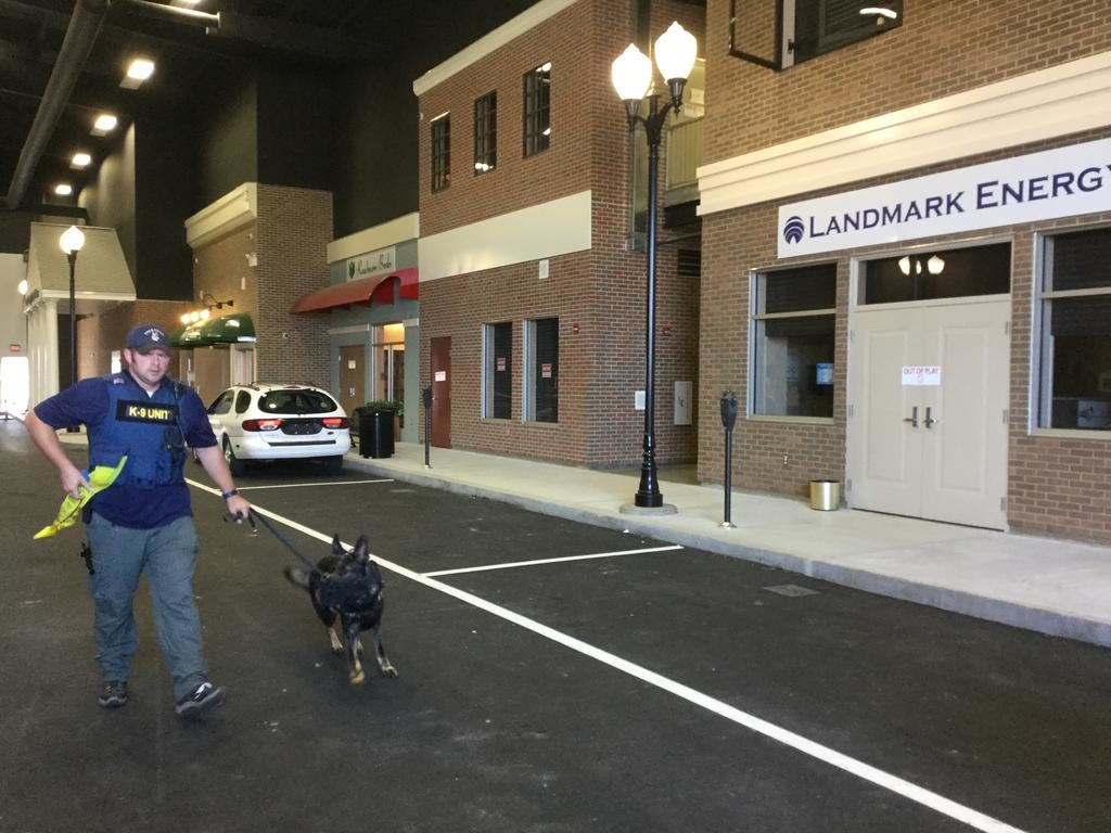 CITYSCAPE — A police K-9 and his handler explore the Cityscape training zone at the Preparedness Center in Whitestown. The warehouse-sized Cityscape is built to look like an ordinary street, complete with streetlights, businesses and more.  (Sentinel photo by Sean I. Mills)