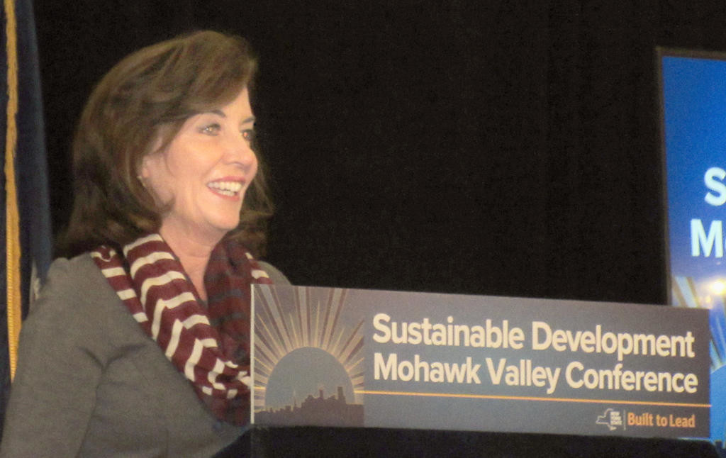 BRAND NEW DAY — Lt. Gov. Kathy Hochul hails the cooperation between private and public sectors in the Mohawk Valley at the Hotel Utica yesterday. The state official touted the region's efforts at the Sustainable Development Mohawk Valley Conference.  (Sentinel photo by Roger Seibert)