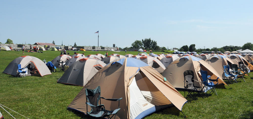 TENT CITY — Rows of tents were set up on the west lawn of Fort Stanwix National Monument last year by participants of Cycling the Erie Canal. Thursday some 650 riders make a stop in Rome before heading east to Canajoharie, where they'll stop the next night.  (Sentinel file photo by Makenzi Enos)