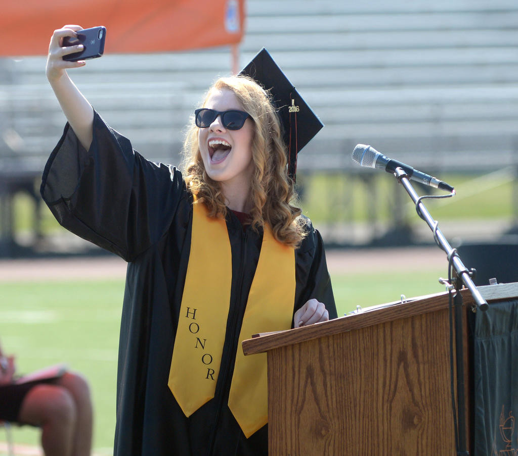 RFA Class president Stephanie Cook taking a selfie with all her classmates at the RFA graduation ceremony.  (Sentinel photo by John Clifford)