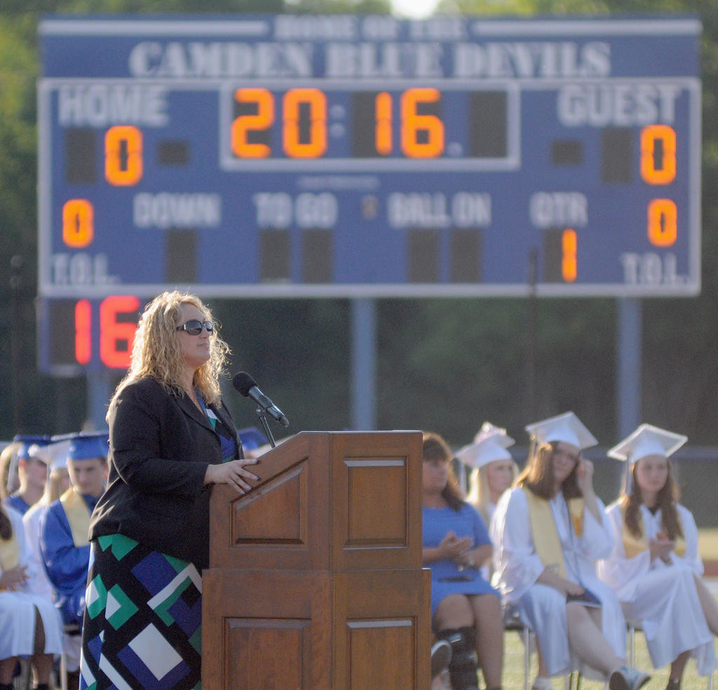 PROUD PRINCIPAL — Camden Principal Heather Wieland addressing the crowd during the commencement ceremony Friday evening.  (Sentinel photo by Makenzi Enos)