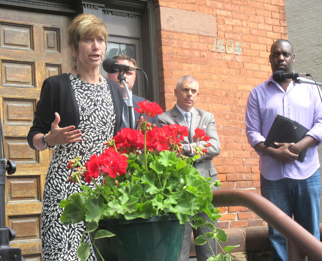 HERE TO HELP — Representatives from Catholic Charities and local officials announce plans for the opening of Grady's Way, a homeless shelter for boys age 12 to 18, at 1404 Genesee St. in Utica on Wednesday.  (Sentinel photo by Roger Seibert)