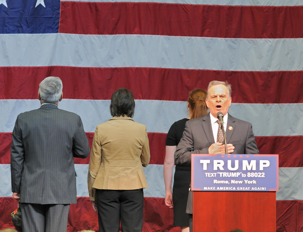 Tom Arcuri doing the Pledge of Allegiance at the Trump rally  (Sentinel photo by John Clifford)