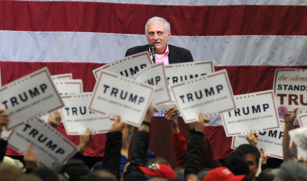 Carl Paladino whipping the crowd up at the Trump Rally  (Sentinel photo by John Clifford)