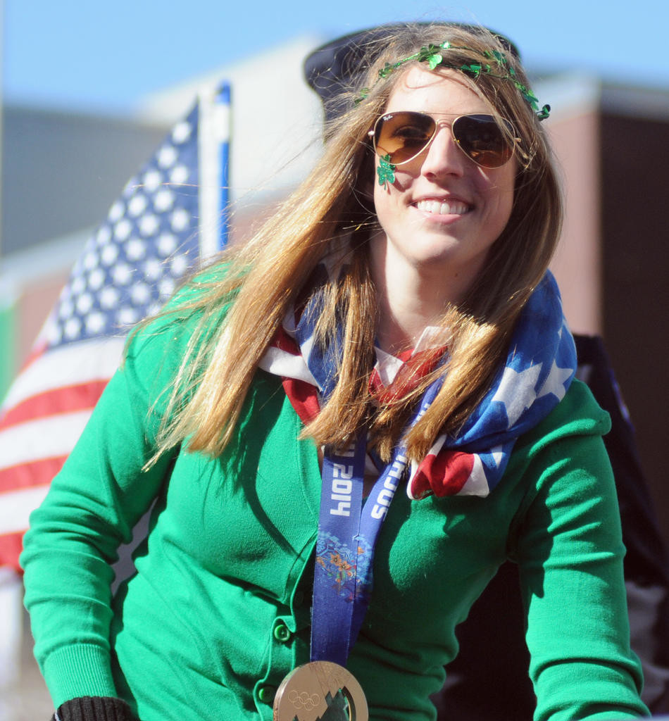Olympian Erin Hamlin dressed in green, red, white, and blue for the parade.  (Sentinel photo by Makenzi Enos)