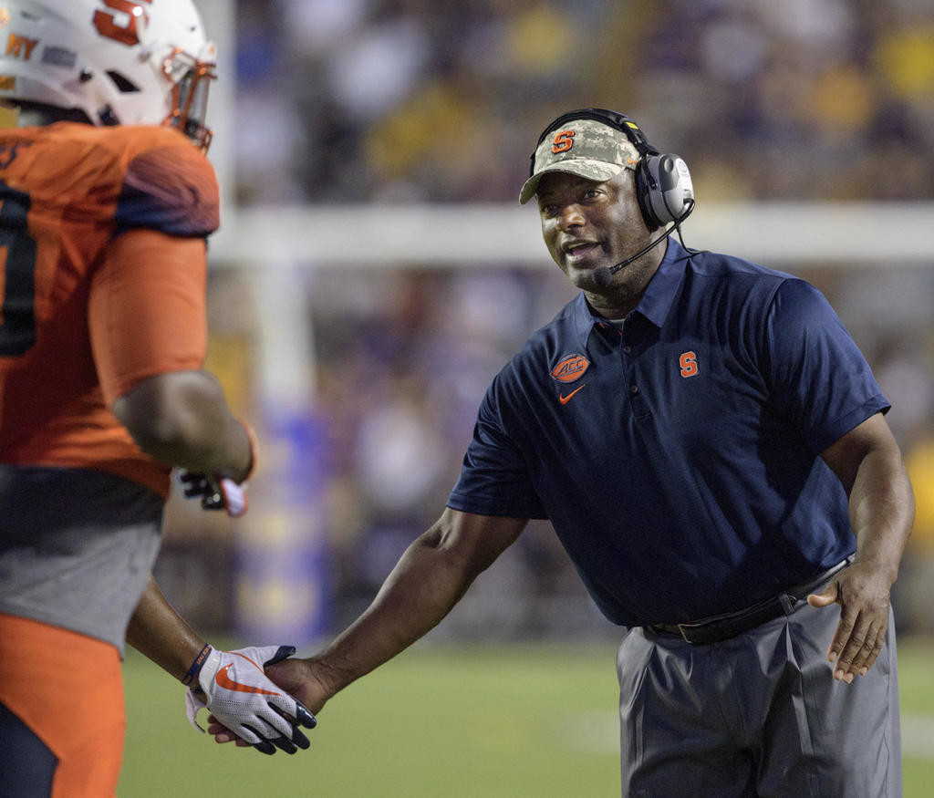 GOOD START — Syracuse coach Dino Babers, shown in this Sept. 23, 2017 file photo, has the Orange off to a 2-0 start for the first time in his third season leading the Orange.  (AP file photo)