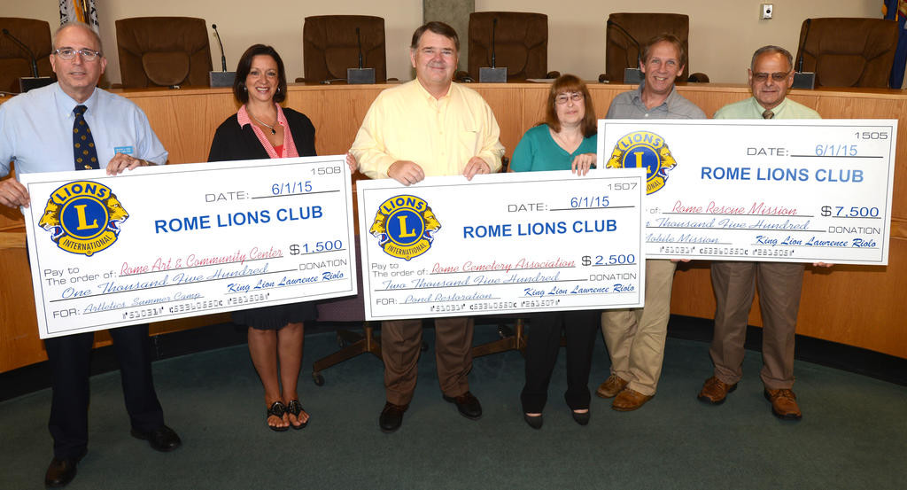 Rome Lions Club donates $11,500 to aid local organizations ...