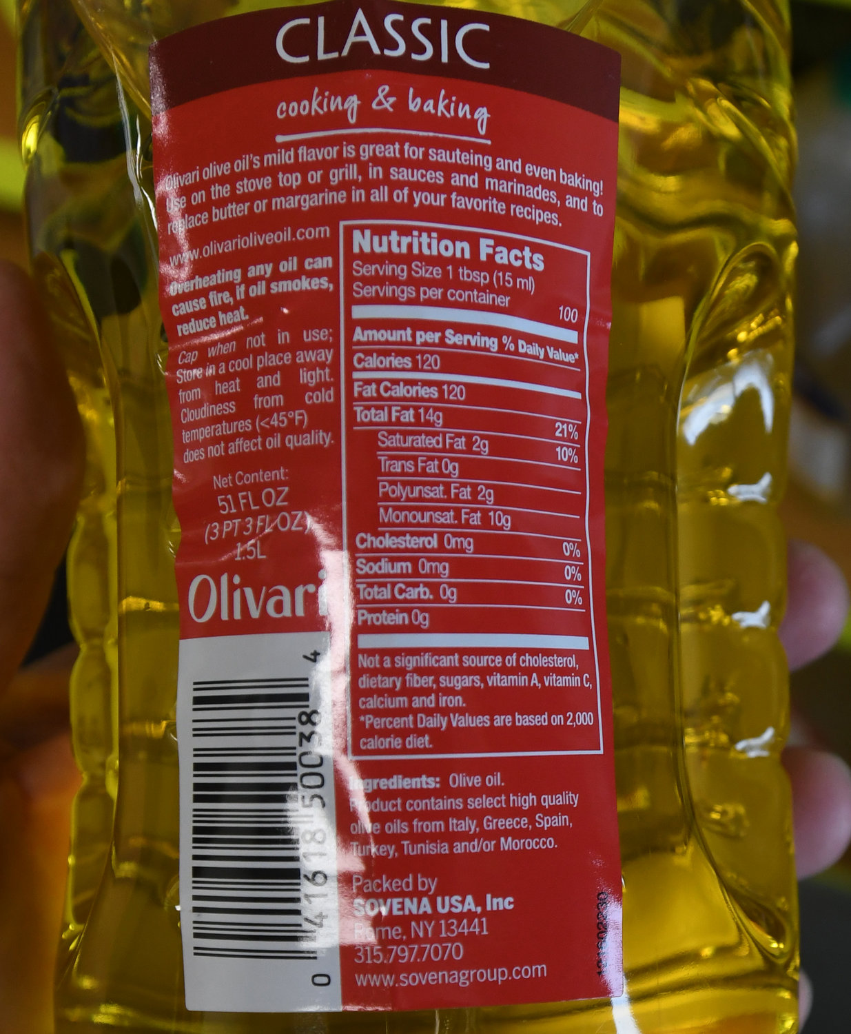 COMING FROM ROME — A label on the back of an Olivari olive oil container states at the bottom that it was packed by Sovena USA Inc. in Rome. Olivari is a brand of the company, which also sells its products under various private labels including for large retail chains. It also sells products to food service and industrial markets.
