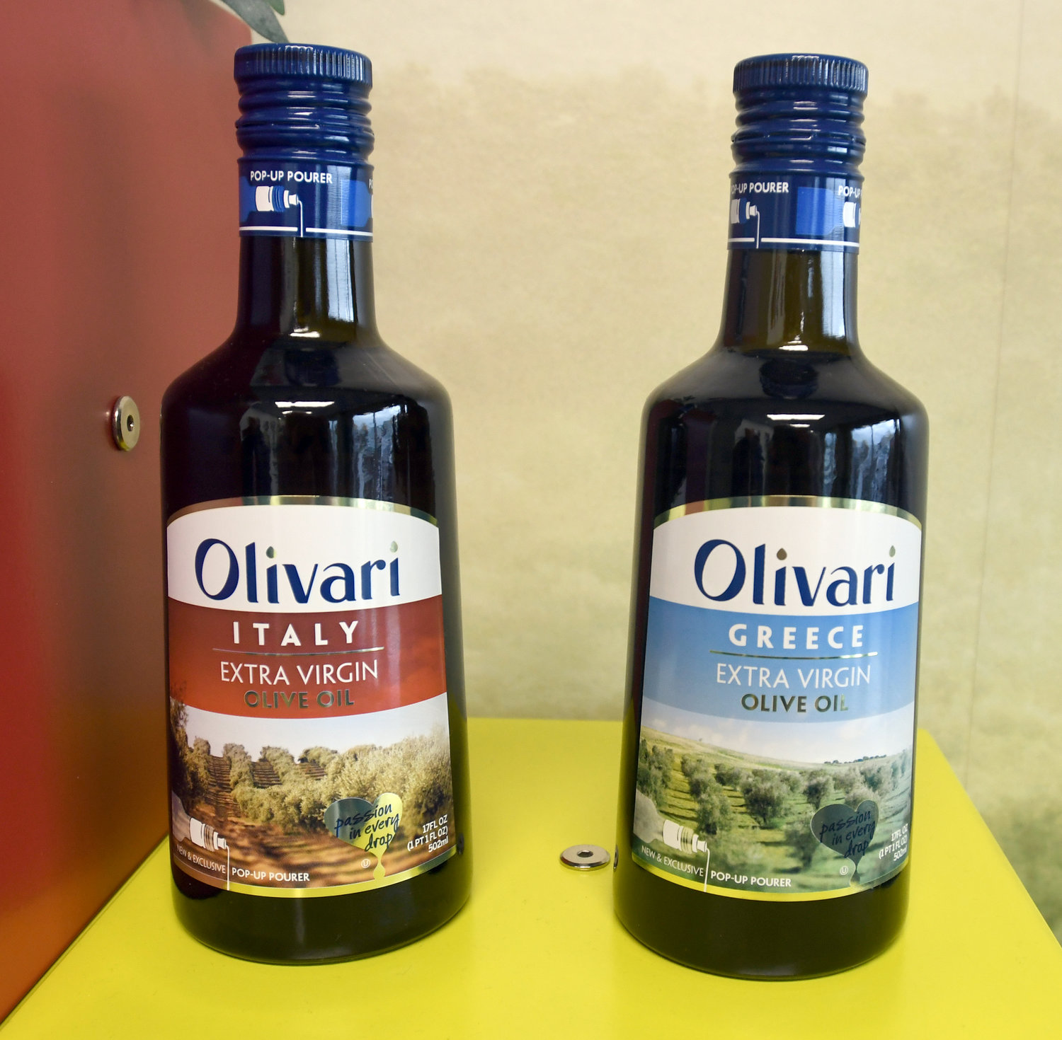 ON THE SHELVES — Sovena USA Inc. products under the company's Olivari brand are on display at its facility at 1 Olive Grove Street at Griffiss business park.