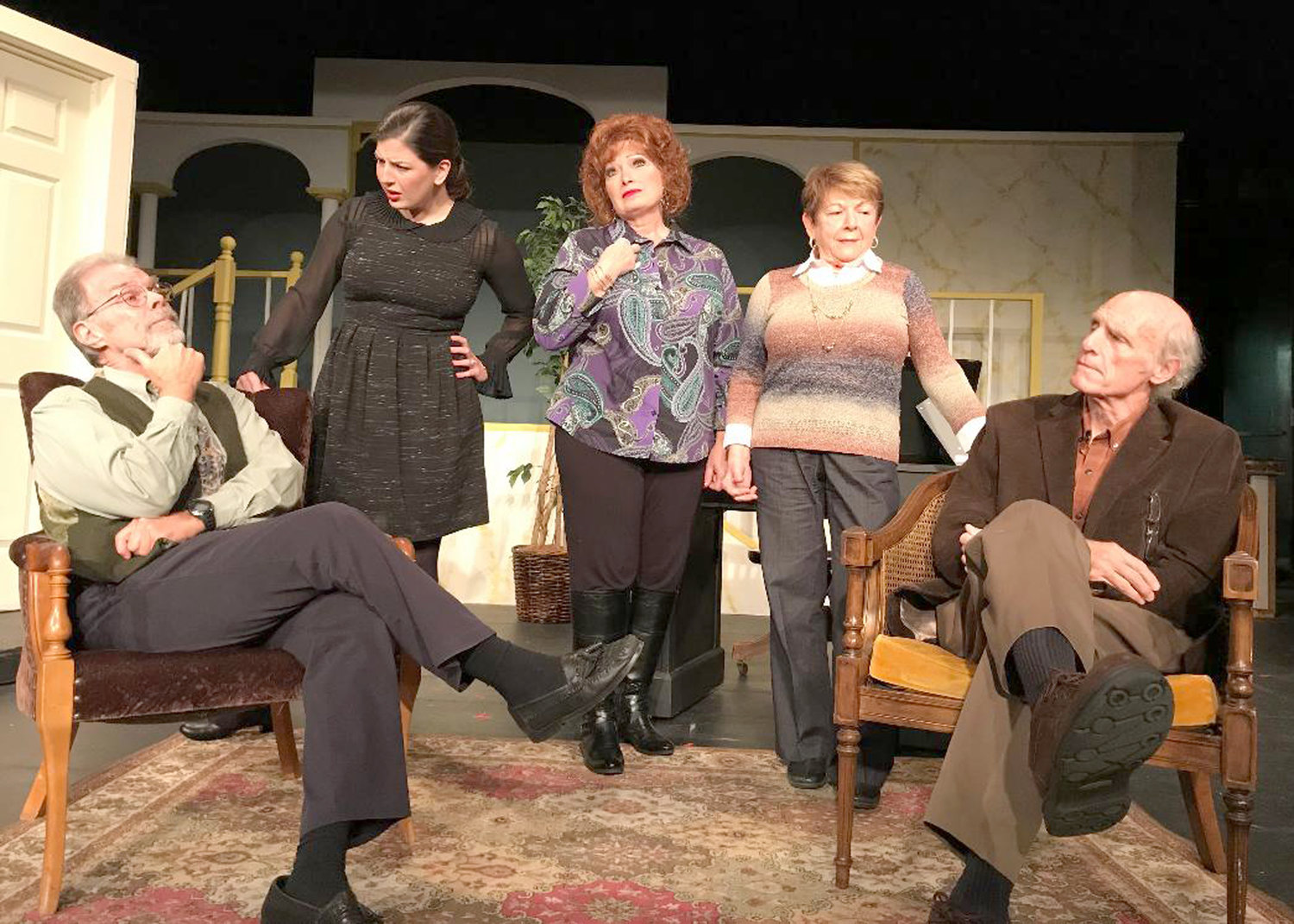"ON RCT STAGE — Members of the cast of ""The Eleven O'Clock,"" from left, Ted Lenio, Valerie Abel, Carol Eggleston Furno, Jo Ann Geller, Bill Moore."